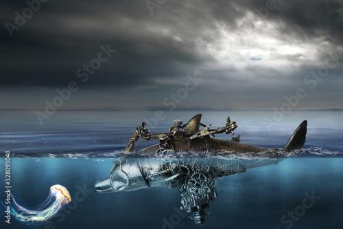 Il grande viaggio del delfino cibernetico e la medusa Canvas-taulu