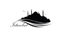 Istanbul City Skyline With Famous Turkish Travel Landmark. Tourist Icon Of Istanbul City. Cityscape Silhouette. Architectural Sign With Hagia Sophia And Lettering Istanbul.