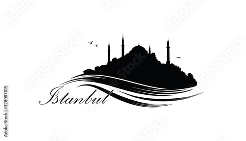 Valokuva Istanbul city skyline with famous turkish travel landmark