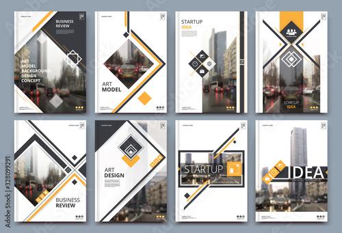 Fototapeta Abstract binder layout. White a4 brochure cover design. Fancy info text frame. Creative ad flyer font. Title sheet model set. Modern vector front page. Elegant city banner. Orange figures icon fiber obraz