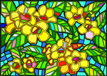 Yellow Flower Stained Glass Background Illustration Vector