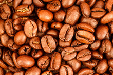 Macro Photo Of Roasted Coffee Beans Background
