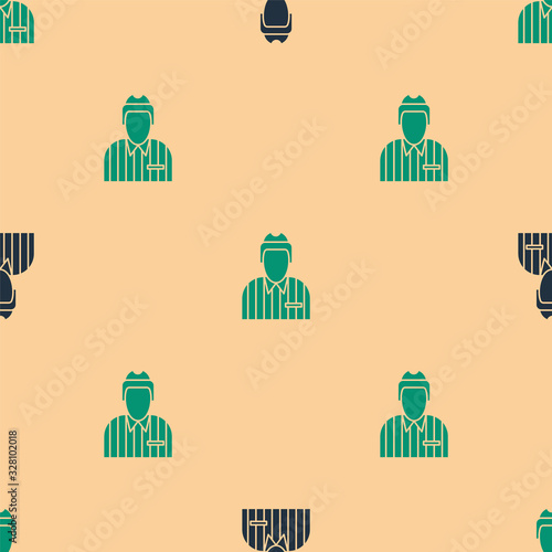 Green and black Hockey judge, referee, arbiter icon isolated seamless pattern on beige background Wallpaper Mural