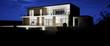 Leinwanddruck Bild - vue 3d Grande villa de nuit