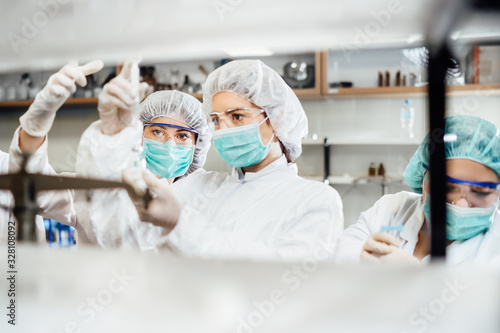 Team of pharmacist working on drug discovery Canvas Print