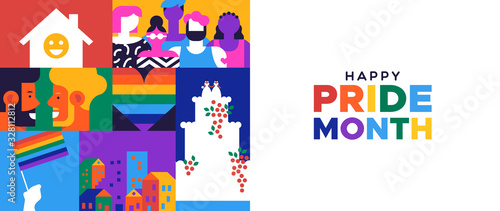 Photo Happy Pride month banner for lgbt rights or social issues event in june