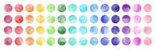 Watercolor Circle Shape Stains, Smears Collection. Bright Rainbow Colors Brush Drawn Dot Pattern. Colorful Watercolour Round Paint Spots Set, Big Dots Illustration, Design Elements. Text Background.