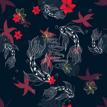Japanese Doodle Seamless Pattern With Koi Carp And Red Yellow Flowers For Design On Blue Background