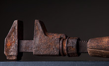 Old Rusty Ratchet With Wooden ...
