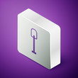 Isometric line Shovel icon isolated on purple background. Gardening tool. Tool for horticulture, agriculture, farming. Silver square button. Vector Illustration