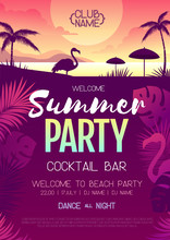 Colorful Summer Disco Party Poster With Fluorescent Tropic Leaves And Flamingo. Summertime Beach Background