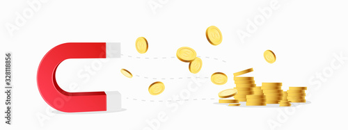 Magnet with money coins isolated on white background Canvas Print
