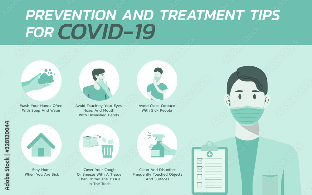 Fototapeta prevention and treatment tips for COVID-nineteen infographic, healthcare and medical about flu, fever and virus prevention, vector flat icon symbol, layout, template illustration in horizontal design