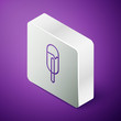 Isometric line Ice cream icon isolated on purple background. Sweet symbol. Silver square button. Vector Illustration