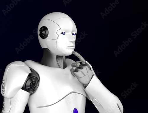 Photo sci-fi robot thinking,android on black background,3d render.