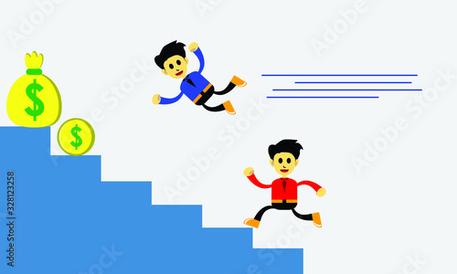Photo vector illustration of a businessman, hard worker competing with smart workers