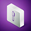 Isometric line Pen icon isolated on purple background. Silver square button. Vector Illustration