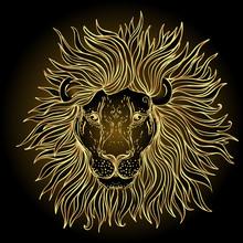 Patterned Ornate Lion Head. Af...
