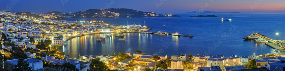 Fototapeta Mykonos island port with boats, Cyclades islands, Greece