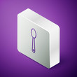Isometric line Heroin in a spoon icon isolated on purple background. Concept of drug addiction and dependence from the narcotic. Junkie lifestyle. Silver square button. Vector Illustration