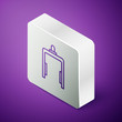 Isometric line Metal detector in airport icon isolated on purple background. Airport security guard on metal detector check point. Silver square button. Vector Illustration