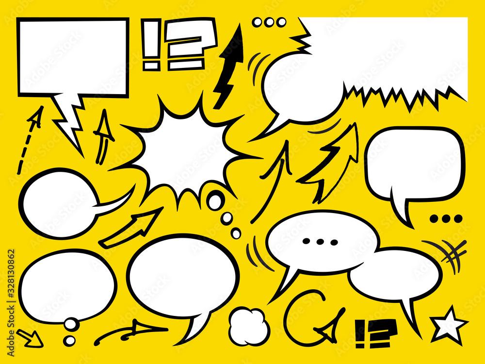 Fototapeta Set of comic speech bubbles. Cartoon vector illustration.