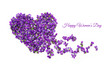 Womens day card. Heart shape flowers. Violets love symbol isolated on white background