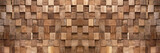 Brown wooden cubes texture background banner panorama