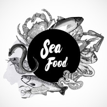 Seafood - Modern Vector Hand Drawn Round Banner Template With Copy Space. Black And White