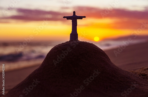 Photo Christ The Redeemer Statue On Mount In Rio De Janeiro At Sunset Famous Beach