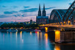 Koln Germany city skyline, Cologne skyline during sunset ,Cologne bridge with cathedral Germany Europe