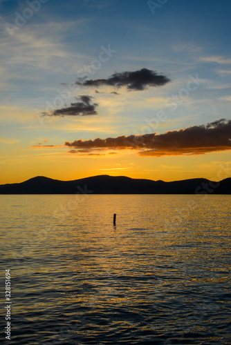 Incline Village, Nevada, USA - 8/22/2019: Beautiful sunset in Sand Harbor on Tahoe Lake