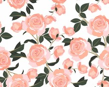 Shabby Chic Rose Pattern. Scrap Booking Floral Seamless Orange Flowers On White Background. Graphic Vintage Print. Small Floral Pattern For Fabric.