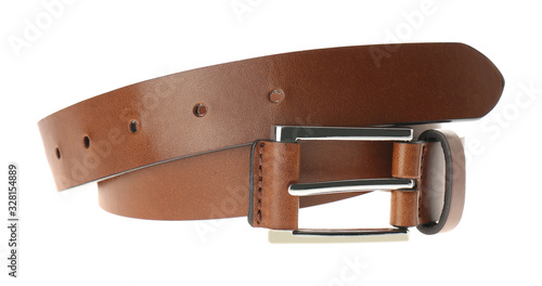 Stylish brown leather belt isolated on white Canvas-taulu
