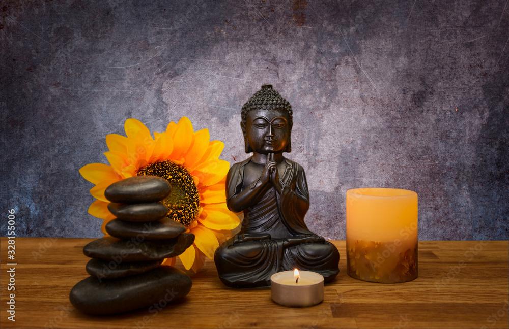 Fototapeta Imagen de elementos spa zen buda velas piedras y flor