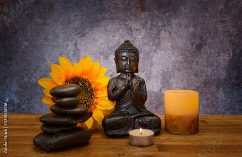 Photo Imagen de elementos spa zen buda velas piedras y flor