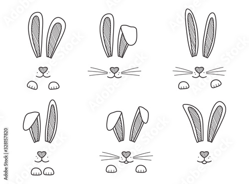 Easter bunnies hand drawn, face of rabbits Fototapete