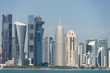 View of city center with skyscrapers from the other side of sea in Doha, Qatar