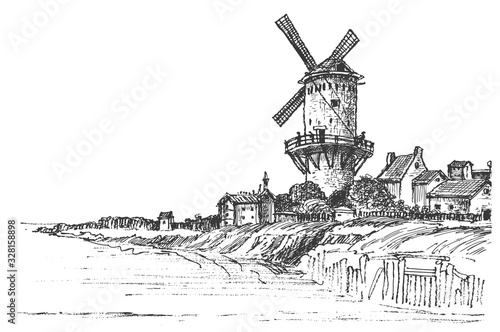 Panoramic view of the old mill and the village near the river. Old windmill village house. Vector sketches. Illustration of rural buildings