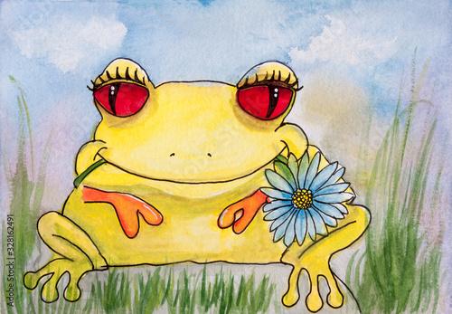 Photo Illustrazione per bambini, rana con un fiore in bocca