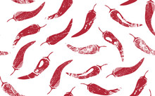 Seamless Pattern With Red Hot Chilly Peppers. Mexican Food Theme. Vector Illustration.