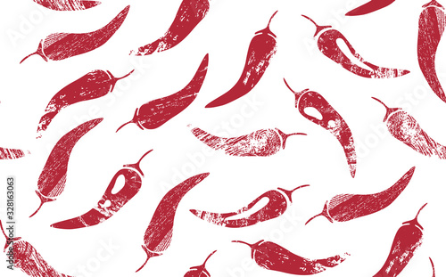 Fotografia Seamless Pattern with Red Hot Chilly Peppers