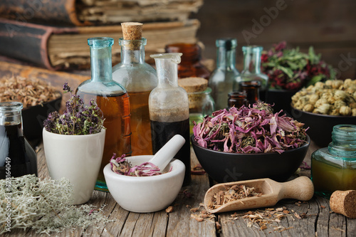 Bottles of healthy tincture or infusion, mortar and bowls of medicinal herbs, old books on table Canvas Print