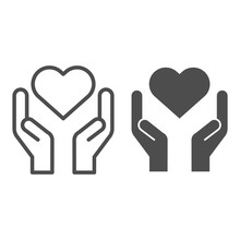 Hands Holding Heart Line And S...