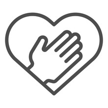 Heart And Helping Hand Line Icon. Human Palm Inside Heart Shape Symbol, Outline Style Pictogram On White Background. Relationship Sign For Mobile Concept And Web Design. Vector Graphics.