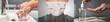 Corona virus hands hygiene coronavirus spreading pandemic prevention header. China outbreak doctor wearing face mask versus man washing hands rubbing soap using hand sanitizer gel panoramic banner.