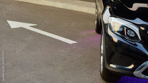 Fototapeta Close up headlights of car. Shallow dof. obraz na płótnie