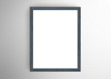 Empty Frame. Blank Dark Grey Portrait Frame On White Wall