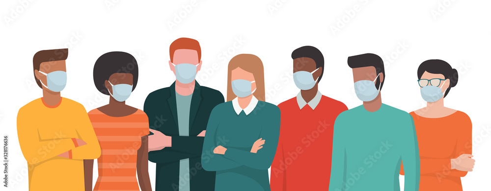 Fototapeta Group of people wearing surgical masks and standing together
