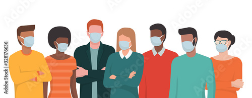 Fototapeta Group of people wearing surgical masks and standing together obraz